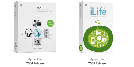 Image showing brand differences in packaging between iLife '04 and '05.