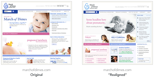 Image showing marchofdimes.com original and realigned sites.